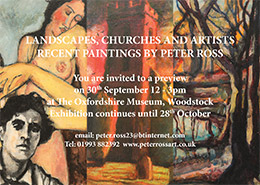 Landscapes, churches and artists private view poster